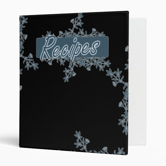 Retro Flower Border Recipes Binder - Blue