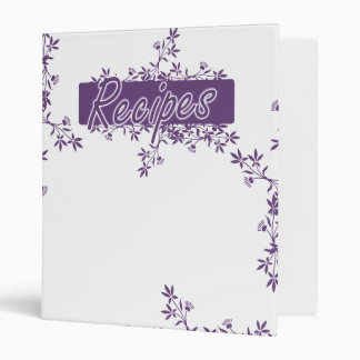 Retro Flower Border Recipes Binder - Purple