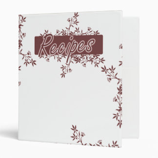 Retro Flower Border Recipes Binder - Red