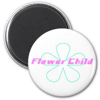 Retro Flower Child 2 Inch Round Magnet