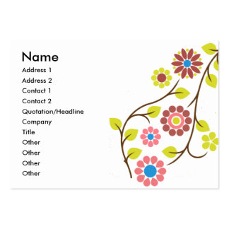 Retro Flower Contact Card Large Business Cards (Pack Of 100)