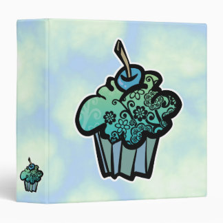 Retro flower cupcake and clouds notebook binder