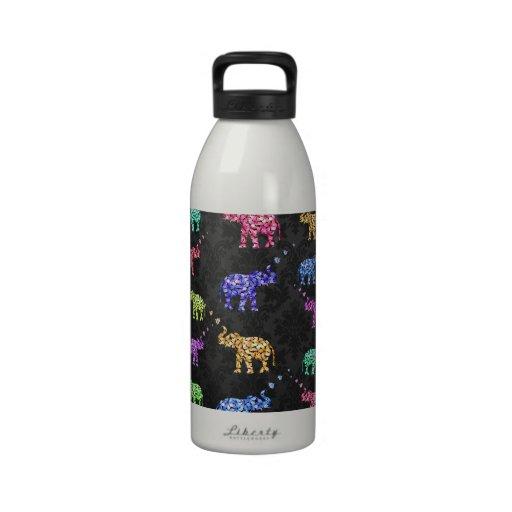 Retro Flower Elephant Pattern Sakura Black Damask Reusable Water Bottle