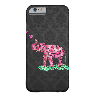 Retro Flower Elephant Pink Sakura Black Damask Barely There iPhone 6 Case