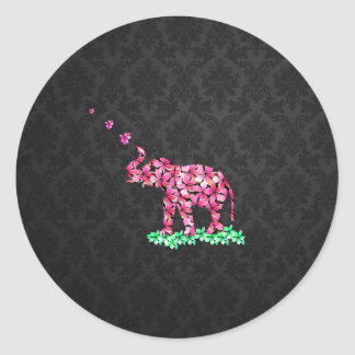 Retro Flower Elephant Pink Sakura Black Damask Classic Round Sticker