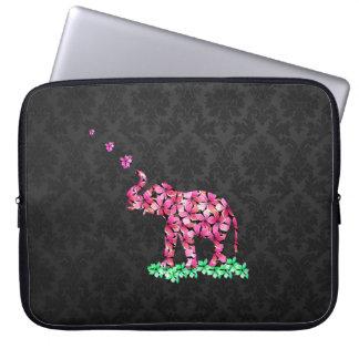 Retro Flower Elephant Pink Sakura Black Damask Computer Sleeve
