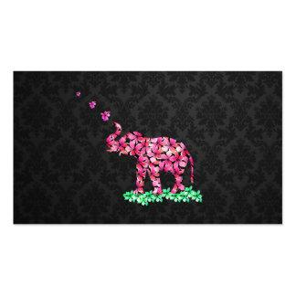 Retro Flower Elephant Pink Sakura Black Damask Double-Sided Standard Business Cards (Pack Of 100)