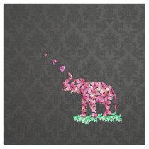 Retro Flower Elephant Pink Sakura Black Damask Fabric