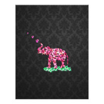 Retro Flower Elephant Pink Sakura Black Damask Flyer