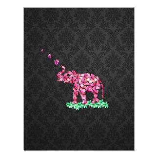 Retro Flower Elephant Pink Sakura Black Damask Flyer