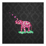 Retro Flower Elephant Pink Sakura Black Damask 5.25x5.25 Square Paper Invitation Card