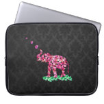 Retro Flower Elephant Pink Sakura Black Damask Computer Sleeves