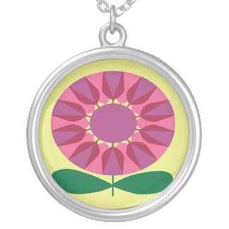 Retro Flower in Pink and Purple Round Necklace