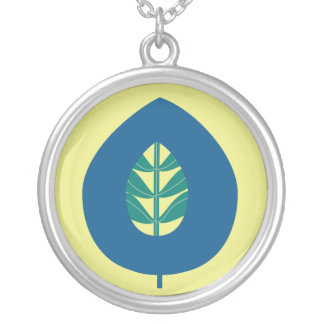 Retro Flower Leaf in Blue on Yellow Necklace