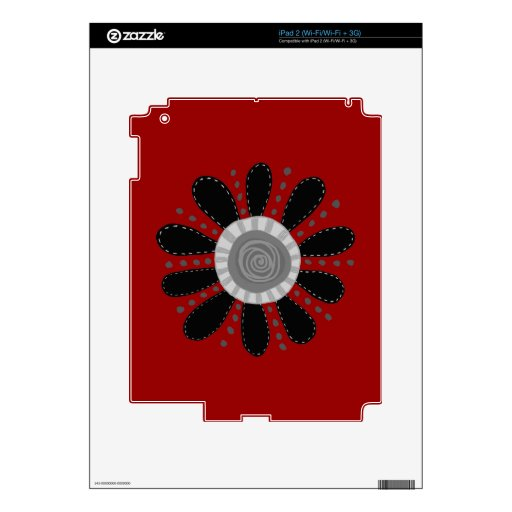 Retro Flower on Red Background Decal For iPad 2