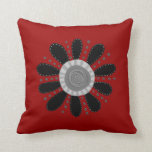 Retro Flower on Red Background Pillow