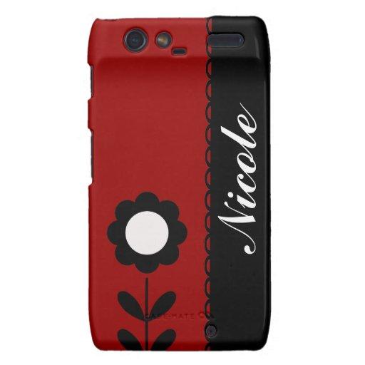 Retro Flower on Red Custom Name Motorola Droid RAZR Case