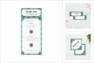 Retro Flower Pattern Business Cards and Flyers