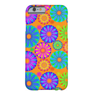 Retro Flower Pattern on Orange Barely There iPhone 6 Case