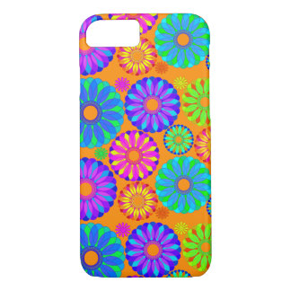 Retro Flower Pattern on Orange iPhone 7 Case