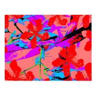 retro flower pink postcard