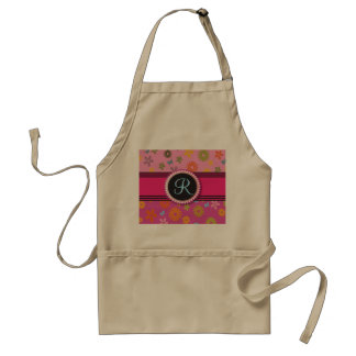Retro Flower Power Monogram Hot Pink Girly Initial Adult Apron