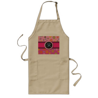 Retro Flower Power Monogram Hot Pink Girly Initial Long Apron