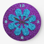 Retro Flower Purple & Blue Glitter Look Wallclocks
