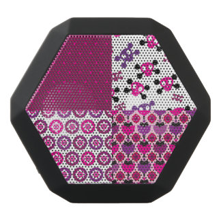 Retro flower skull polka dot black bluetooth speaker