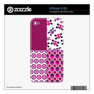 Retro flower skull polka dot decals for the iPhone 4S