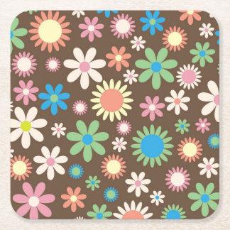 Retro Flower Square Paper Coaster