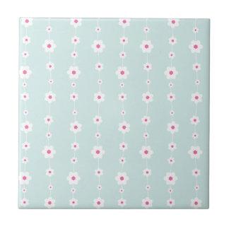 Retro Flower Strings Aquamarine and Pink Ceramic Tile