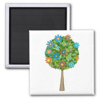 Retro flower tree 2 inch square magnet