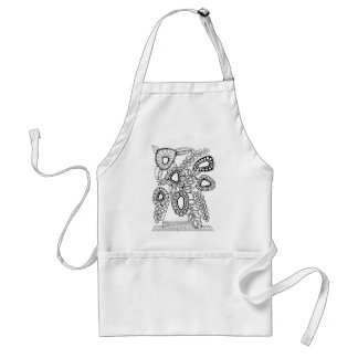 Retro Flower Vase Line Art Design Adult Apron