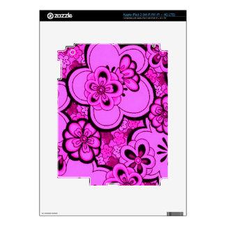Retro Flowers Abstract Magenta Pink iPad 3 Skin