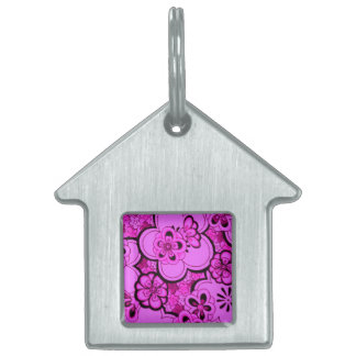 Retro Flowers Abstract Magenta Pink Pet Tag