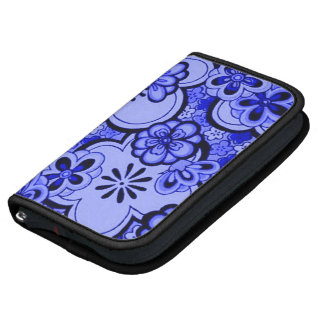 Retro Flowers Abstract Sapphire Blue Day Planner