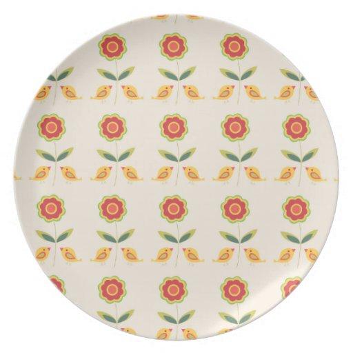 Retro flowers and birds dinner plate