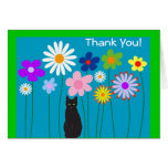 Retro Flowers and Black Cat Thank You Cards