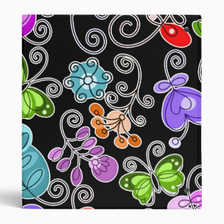 retro flowers and butterflies 3 ring binder