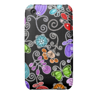retro flowers and butterflies Case-Mate iPhone 3 case