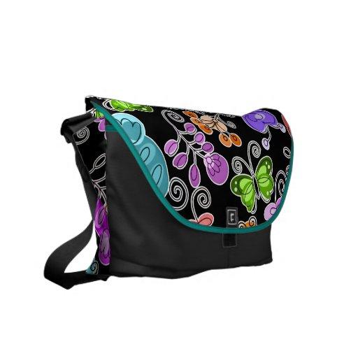 retro flowers and butterflies messenger bag