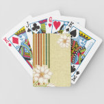 Retro Flowers and Stripes Bicycle Playing Cards