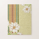 Retro Flowers and Stripes Jigsaw Puzzle