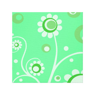 Retro Flowers Art Canvas Gallery Wrapped Print 3 Canvas Print