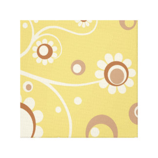 Retro Flowers Art Canvas Gallery Wrapped Print 4 Canvas Print