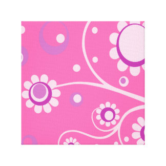 Retro Flowers Art Canvas Gallery Wrapped Print 6 Canvas Print