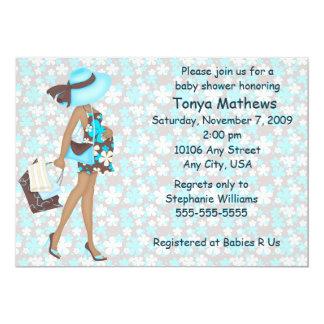 Retro Flowers Baby Shower Invitation (Blue AA)