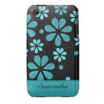 Retro Flowers Black iPhone 3g/3gs Case:Teal iPhone 3 Covers