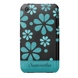Retro Flowers Black iPhone 3g 3gs Case Teal iPhone 3 Covers